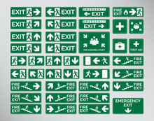 Set Of Green Emergency Exit Signs, Assembly Point, Fire Vectorial Design