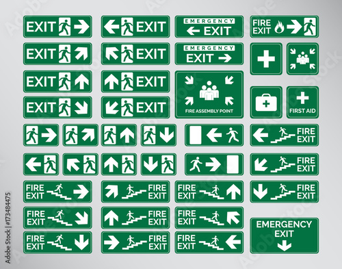 Set Of Green Emergency Exit Signs, Assembly Point, Fire Vectorial Design Wall mural