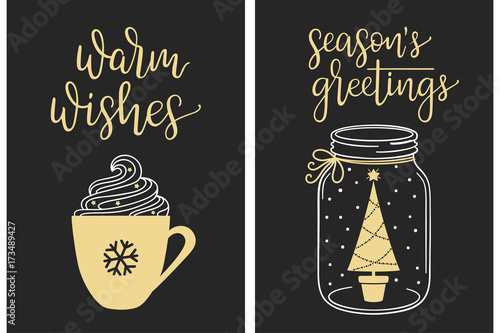 Coffee Christmas Cards.Christmas Cards With Modern Calligraphy Writing Warm Wishes