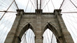 Brooklyn bridge detail in New York City - stone and cable