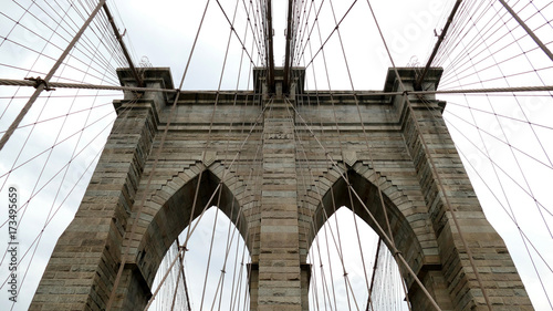 Fototapety, obrazy: Brooklyn bridge detail in New York City - stone and cable