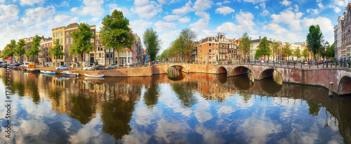 Amsterdam Canal houses  vibrant reflections, Netherlands, panorama