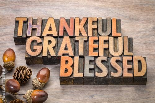Photo thankful, grateful, blessed - Thanksgiving theme