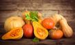 Leinwanddruck Bild - Fresh and colorful pumpkins and squashes