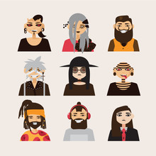 Vector Set With Male Subcultural Characters. Rasta, Body Modification, Hipster, Goth, Visual Kei Guys.