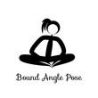 Bound Angle Pose, Baddha Konasana. Yoga Position. Vector Silhouette Illustration. Vector graphic design or logo element for spa center, studio, poster. Yoga retreat. Black. Isolated.