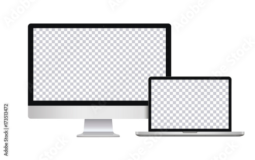 Realistic Computer Laptop In Imac Macbook Style With Blank