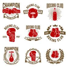 Set Of Boxing Club Emblems. Bo...