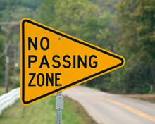 No Passing Zone Sign On The Ru...