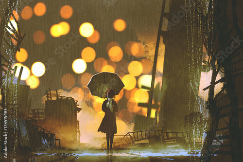 Foto op Aluminium Grandfailure rainy night scene of woman holding umbrella standing alone in abandoned city, digital art style, illustration painting