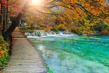Panel SzklanyBeautiful tourist pathway in colorful autumn forest, Plitvice lakes, Croatia