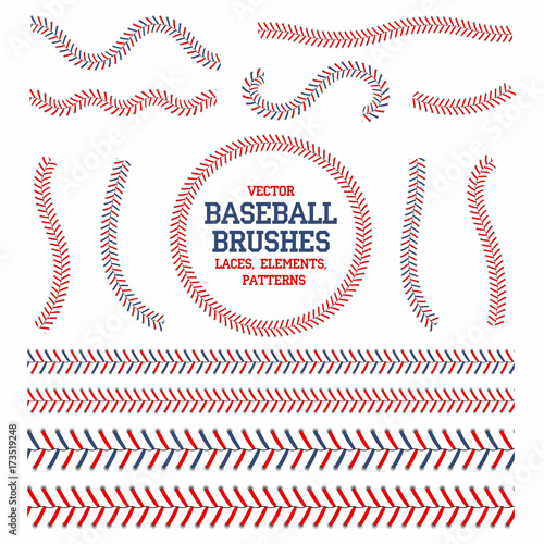 Baseball laces set Wallpaper Mural