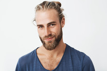 Handsome Swedish Mature Guy With Great Hairstyle And Beard Smiling, Looking In Camera With Confident And Flirty Expression.