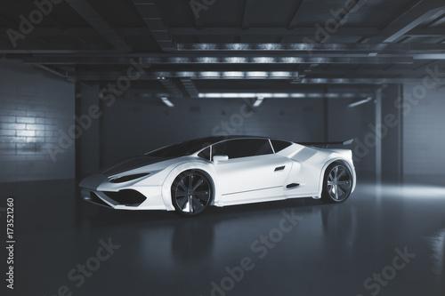 Nowoczesna strona białego samochodu sportowego