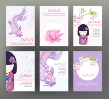 Set Of 6 Cards Or Banners With...