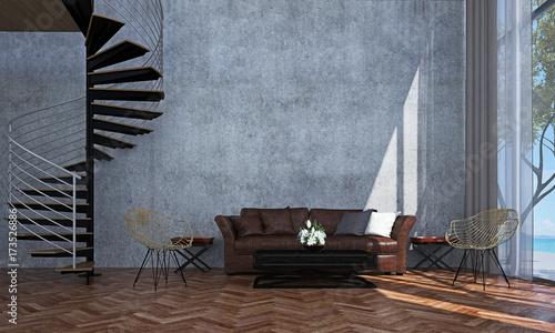 Fototapeta Wnętrza salonu na poddaszu i tekstury ścian betonowych i spiralne schody i widok na morze
