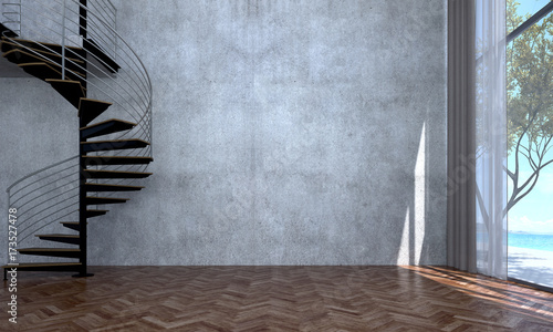 Valokuva  The interior design of empty loft living room and concrete wall texture and spir