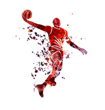 Vector Watercolor Silhouette Basketball Player