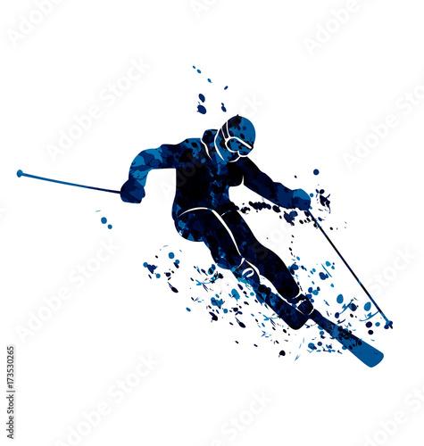 Fotografía  Vector watercolor silhouette skier