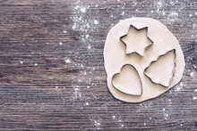 Forms For The Test . Cookie Cutters In The Form Of A Tree Of Hearts And Stars. The View From The Top.