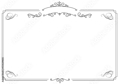 ornamental retro elegant black border and white background