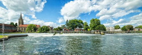 Summer panoramic landscape of Thames river in Marlow Wallpaper Mural