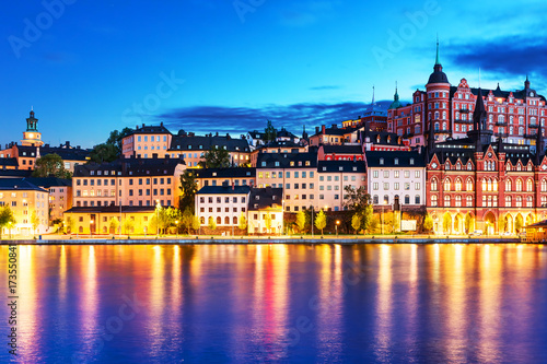 Photo  Evening scenery of the Old Town in Stockholm, Sweden