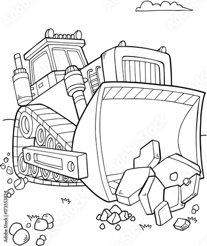 Poster Cartoon draw Bulldozer Construction Vector Illustration Art