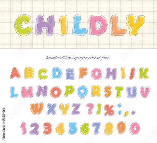 Font pencil crayon  Childly style  Handwritten  Isolated on white