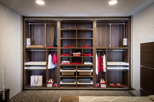 Fotomural  Built in closet with warderobe in home interior