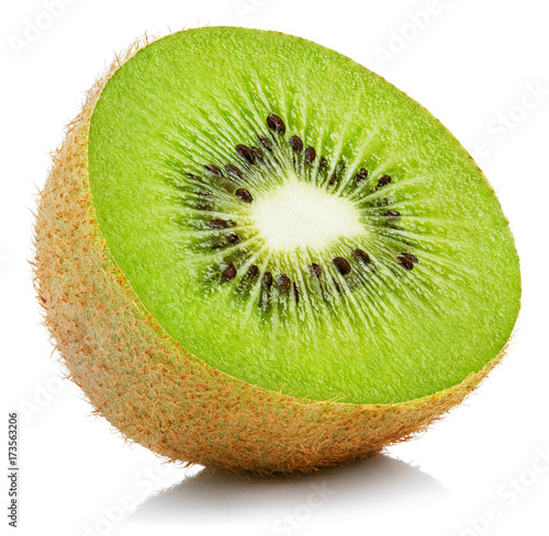 Half of ripe kiwi fruit isolated on white background
