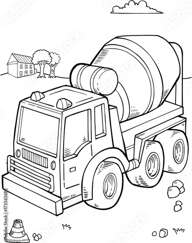 Photo sur Toile Cartoon draw Construction Truck Vector Illustration Art