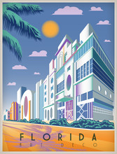 Sunny Day In Florida, USA. Handmade Drawing Vector Illustration. Art Deco Style. All Buildings - Customizable Different Objects.