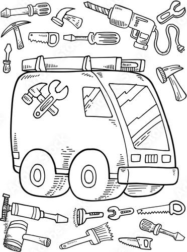 Canvas Prints Cartoon draw Work Truck Construction Vector Illustration Art