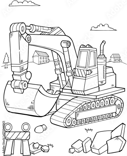 Poster Cartoon draw Big Digger Construction Vector illustration Art