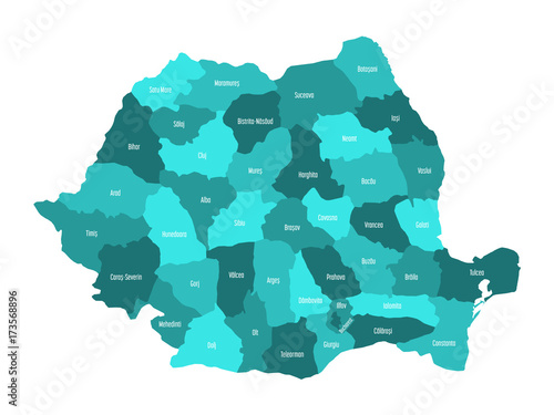 Obraz na plátně Administrative counties of Romania