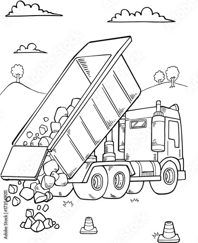 Photo sur Toile Cartoon draw Dump Truck Construction Vector Illustration Art