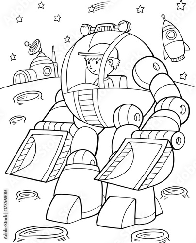 Poster Cartoon draw Construction Robot Vector Illustration Art