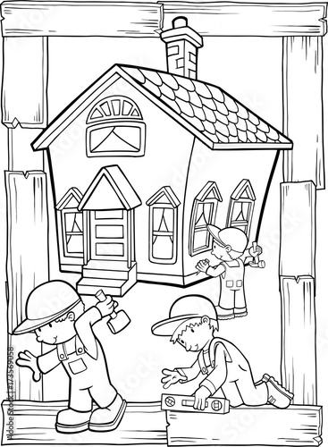 Fotobehang Cartoon draw Home Building Construction Vector Illustration Art