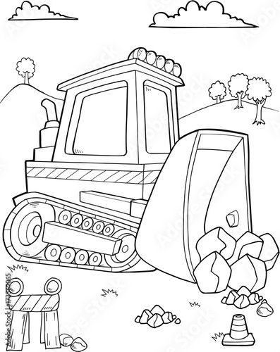 Photo sur Toile Cartoon draw Cute Bulldozer Construction Vector Illustration Art