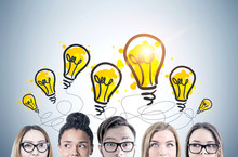 Young People S Heads, Light Bulbs