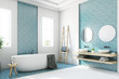canvas print picture Blue and white bathroom, white tub side