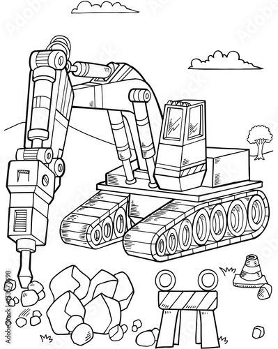 Poster de jardin Cartoon draw Bulldozer Construction Vector Illustration Art