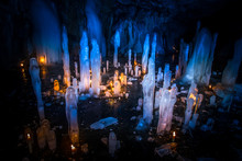 Ice Stalactites In The Cave. I...