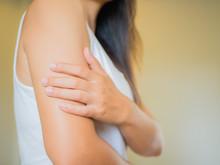 Closeup Female's Arm. Arm Pain...