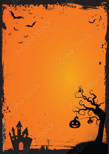 Spoed Fotobehang Halloween Halloween element with border and background template