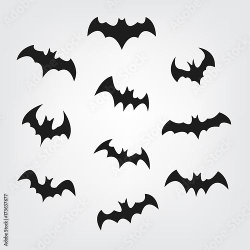 photo regarding Printable Halloween Silhouettes named Traveling bats established for Halloween. Bat Black silhouette