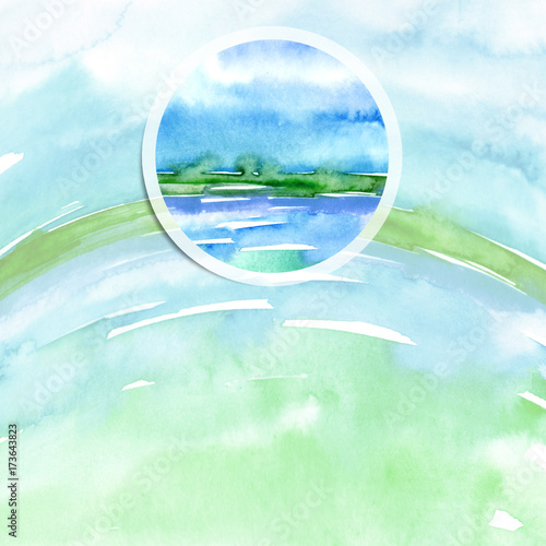 Foto op Plexiglas Lichtblauw Watercolor logo, advertisement, poster, background. Ecological drawing, earth, water, sea, sky, air. Blue, green, an adherent stain, a fashionable illustration with a round element