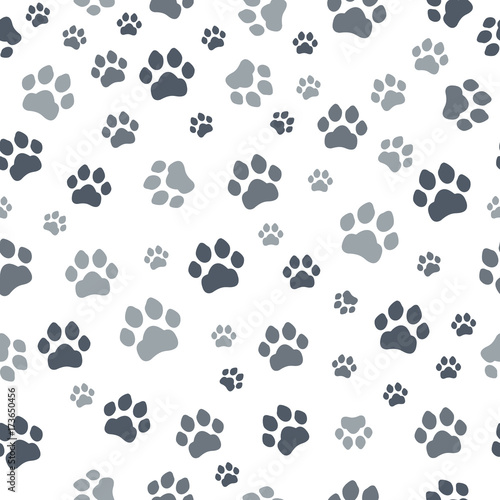 plakat Paw print seamless. Traces of Cat Textile Pattern. Cat footprint seamless pattern. Vector seamless