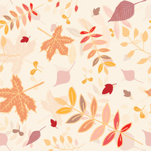 Autumn Leaves Seamless Pattern With Yellow Background.